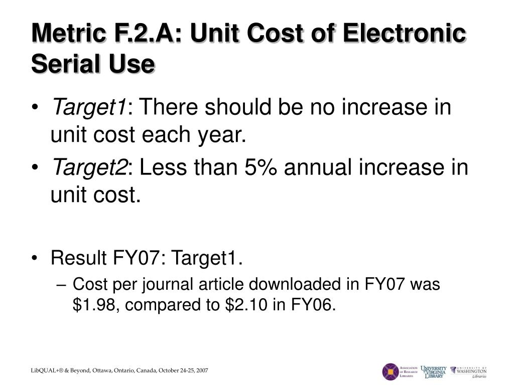 Metric F.2.A: Unit Cost of Electronic Serial Use