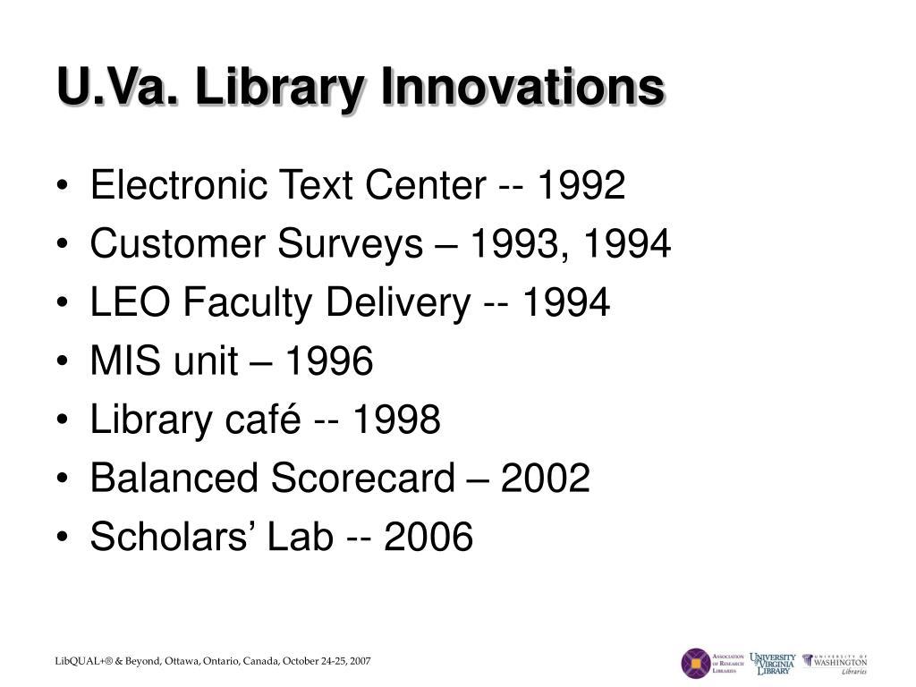 U.Va. Library Innovations