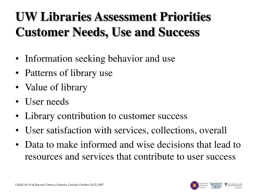 UW Libraries Assessment Priorities
