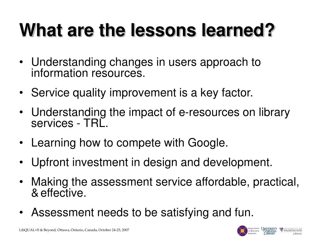 What are the lessons learned?