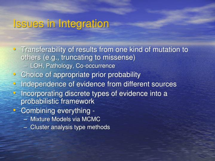Issues in Integration