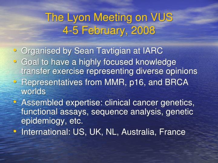 The Lyon Meeting on VUS