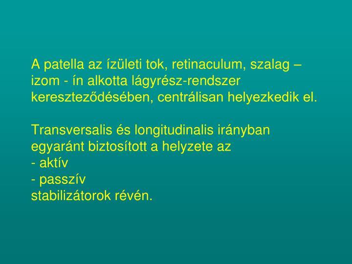 A patella az ízületi tok, retinaculum, szalag – izom - ín alkotta lágyrész-rendszer kereszteződésében, centrálisan helyezkedik el.