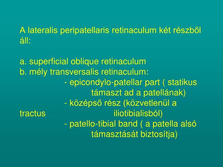 A lateralis peripatellaris retinaculum két részből áll: