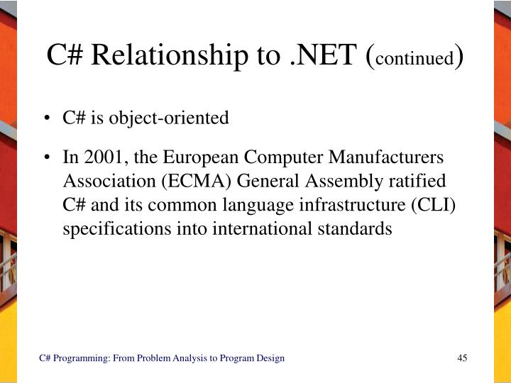 C# Relationship to .NET (