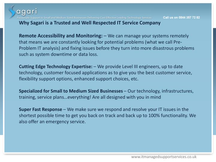 Why Sagari is a Trusted and Well Respected IT Service Company