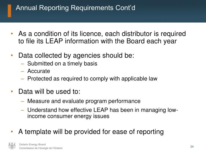 Annual Reporting Requirements Cont'd
