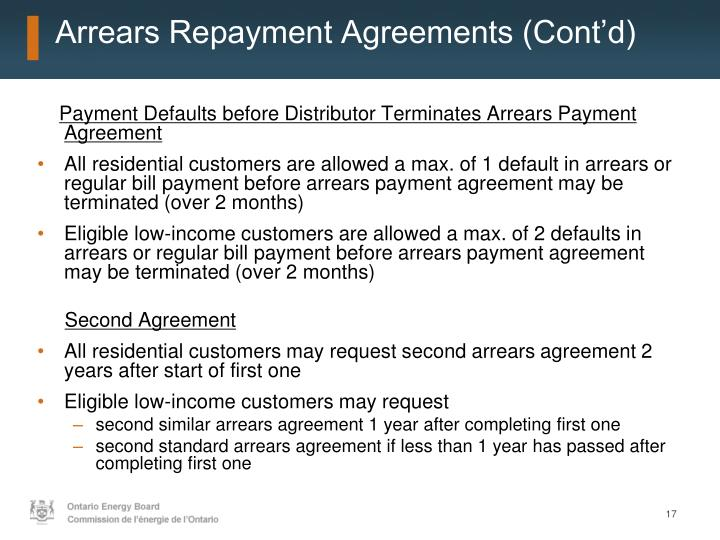 Arrears Repayment Agreements (Cont'd)