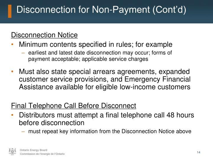 Disconnection for Non-Payment (Cont'd)