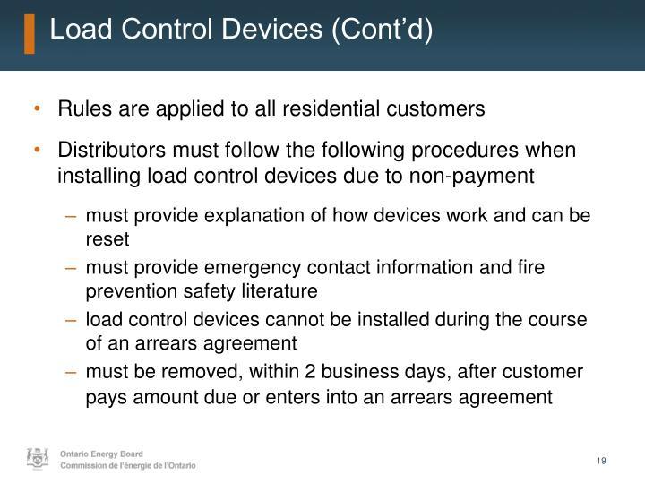 Load Control Devices (Cont'd)