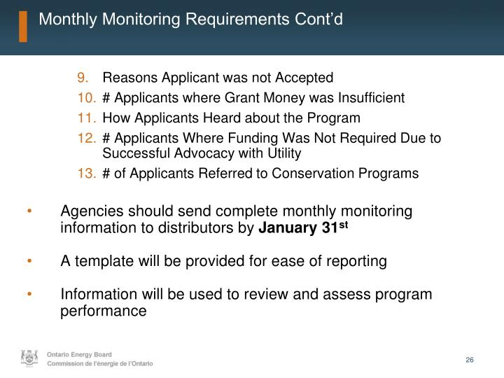 Monthly Monitoring Requirements Cont'd