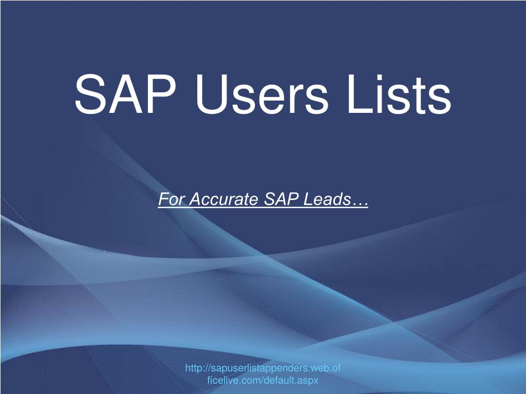 sap users lists for accurate sap leads