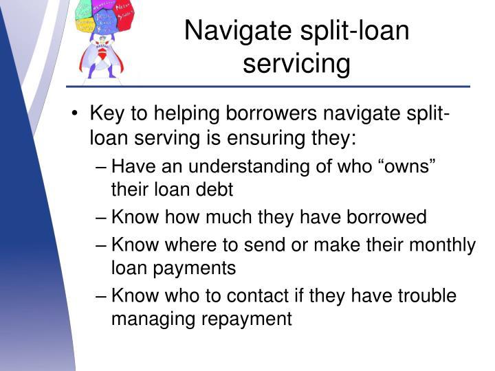 Navigate split-loan servicing