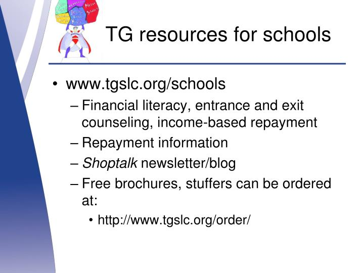 TG resources for schools