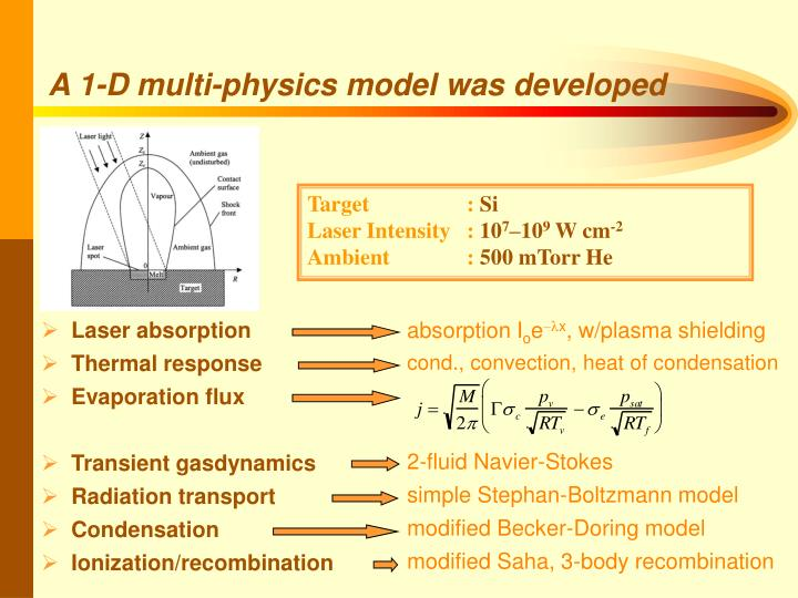 A 1-D multi-physics model was developed