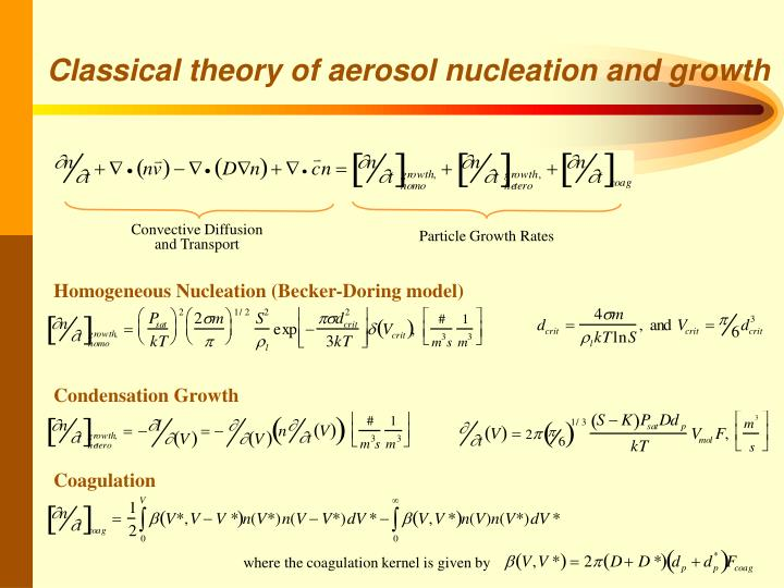 Classical theory of aerosol nucleation and growth