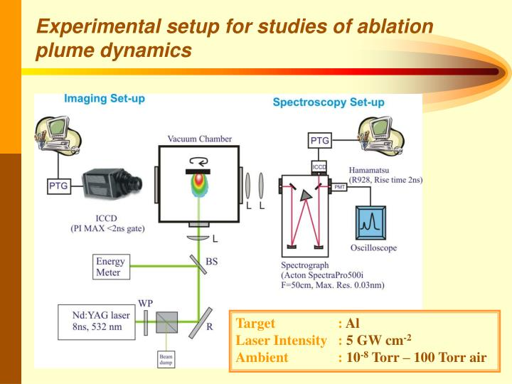 Experimental setup for studies of ablation plume dynamics