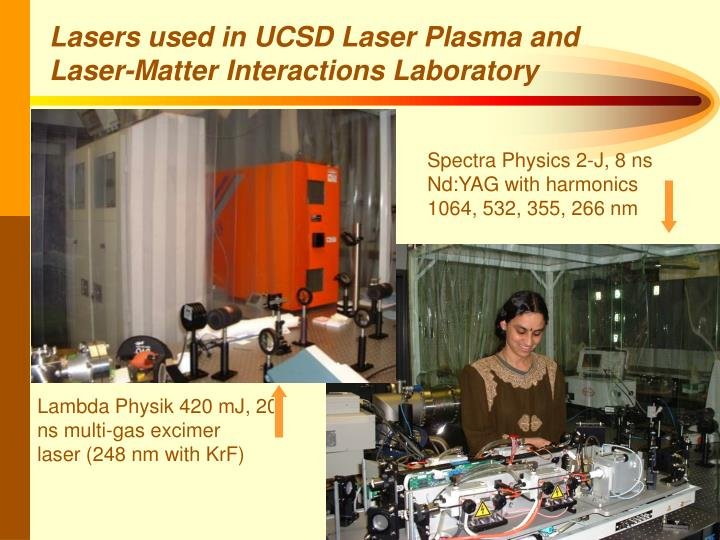 Lasers used in UCSD Laser Plasma and Laser-Matter Interactions Laboratory