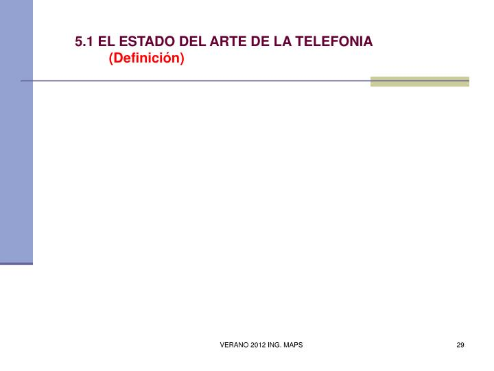 5.1 EL ESTADO DEL ARTE DE LA TELEFONIA