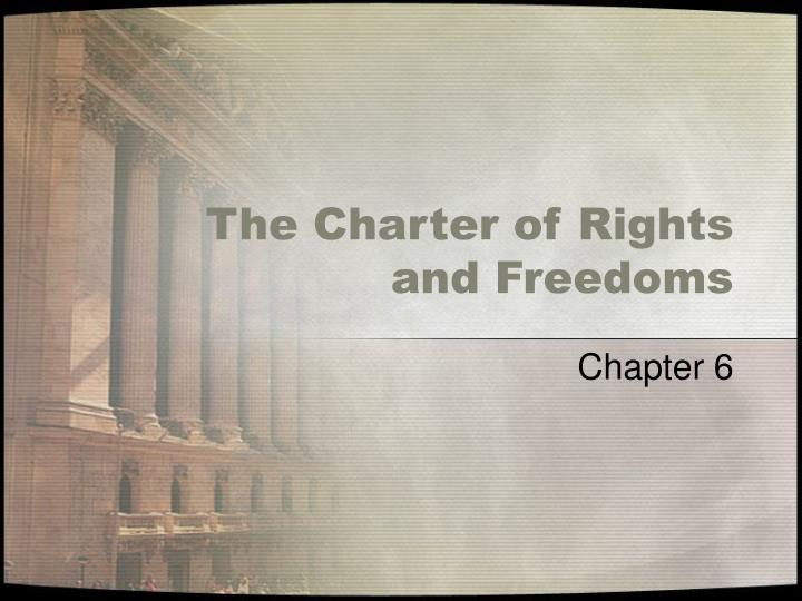 the charter of rights and freedoms n.
