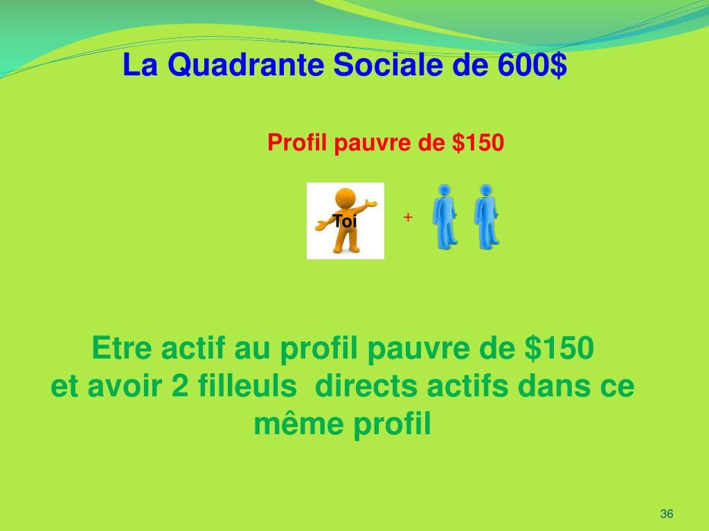 La Quadrante Sociale de 600$