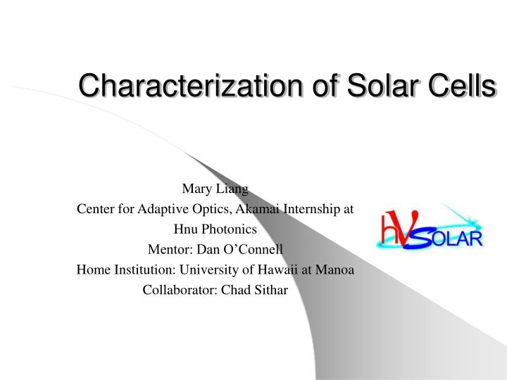 characterization of solar cells n.