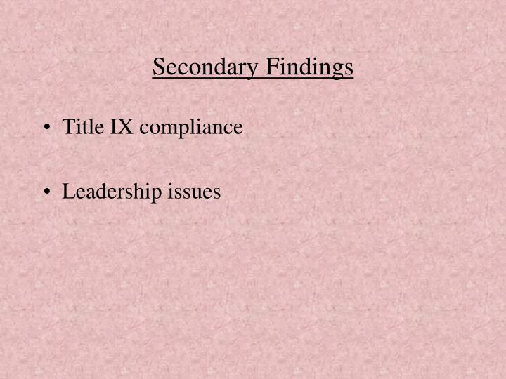 Secondary Findings