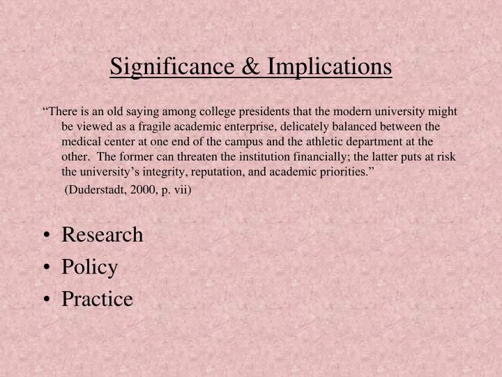 Significance & Implications