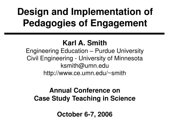 design and implementation of pedagogies of engagement n.