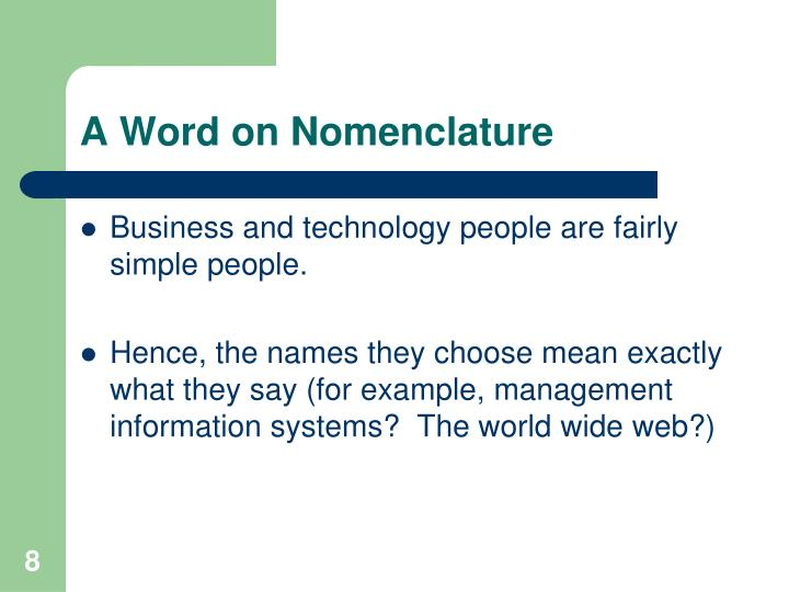 A Word on Nomenclature