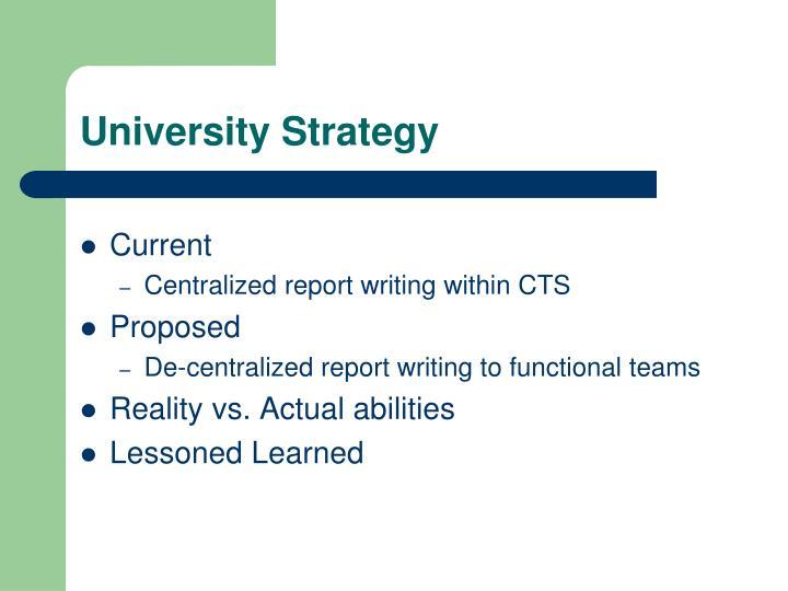 University Strategy
