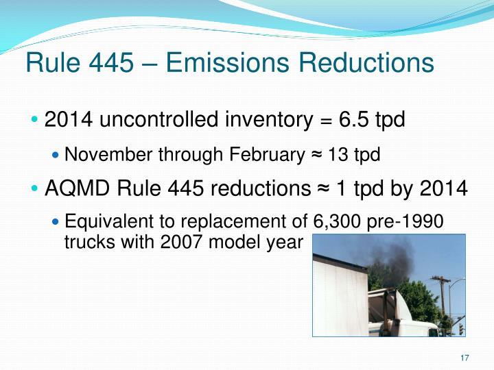 Rule 445 – Emissions Reductions