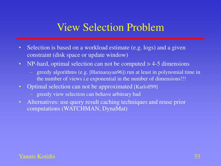 View Selection Problem