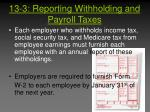 13 3 reporting withholding and payroll taxes