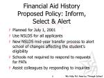 financial aid history proposed policy inform select alert