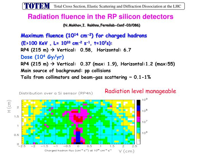 Radiation fluence in the RP silicon detectors
