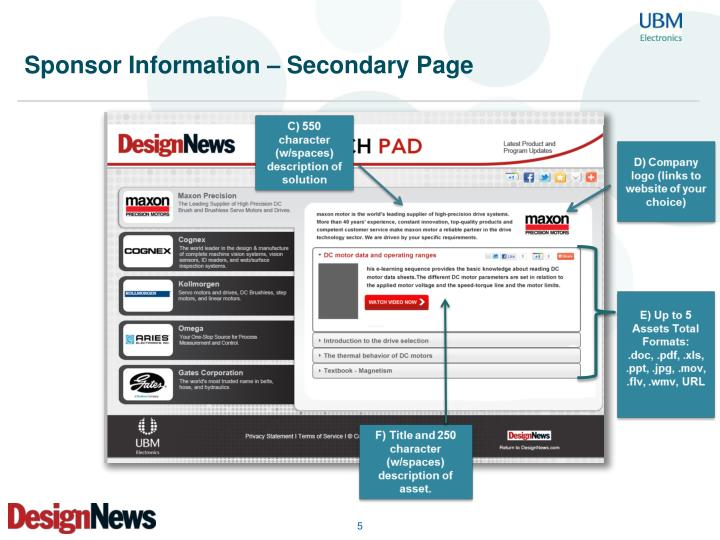 Sponsor Information – Secondary Page
