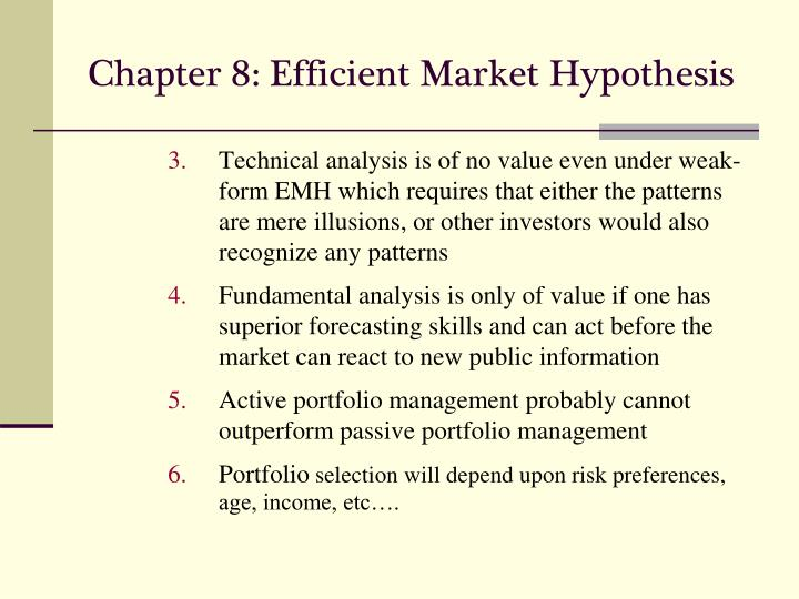 importance efficient market hypothesis An 'efficient' market is defined as a market where there are large numbers of rational, profit 'maximisers' actively competing, with each trying to predict future market values of individual securities, and where important current information is almost freely available to all participants.