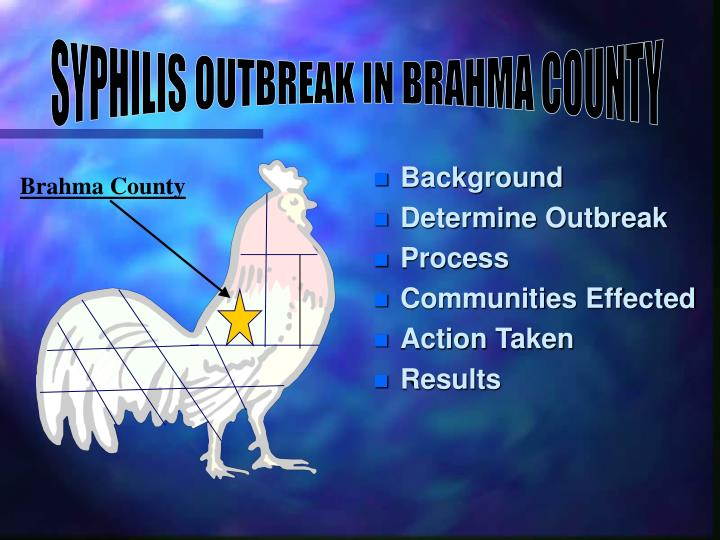 SYPHILIS OUTBREAK IN BRAHMA COUNTY