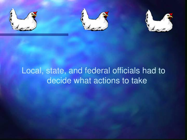 Local, state, and federal officials had to decide what actions to take