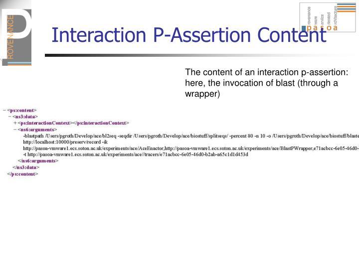 Interaction P-Assertion Content