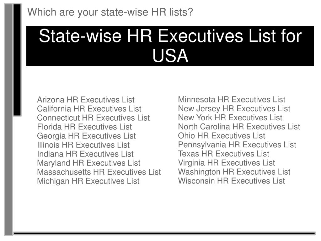 Which are your state-wise HR lists?