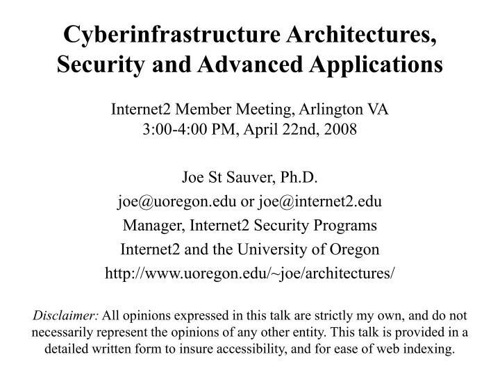 cyberinfrastructure architectures security and advanced applications n.