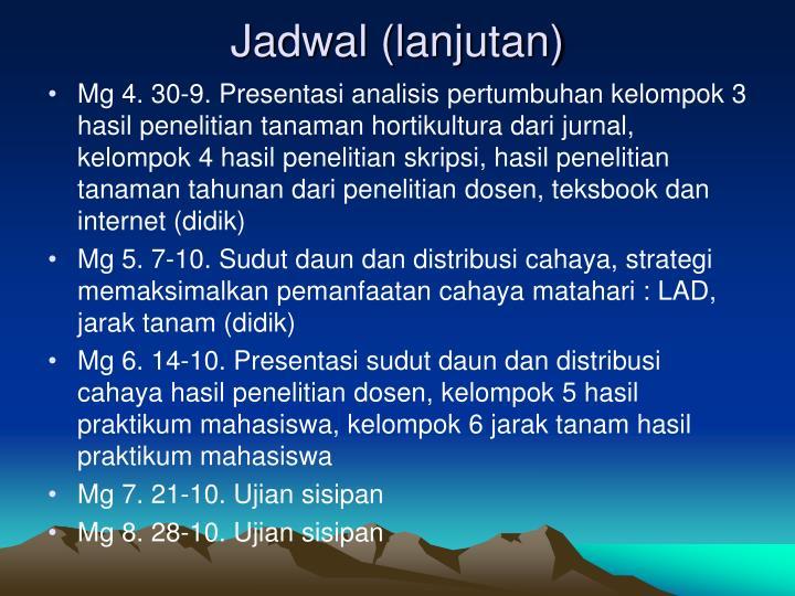 Jadwal (lanjutan)
