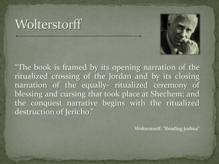 """The book is framed by its opening narration of the ritualized crossing of the Jordan and by its closing narration of the equally- ritualized ceremony of blessing and cursing that took place at"
