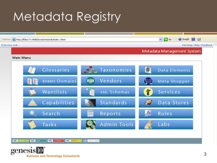 Metadata registry