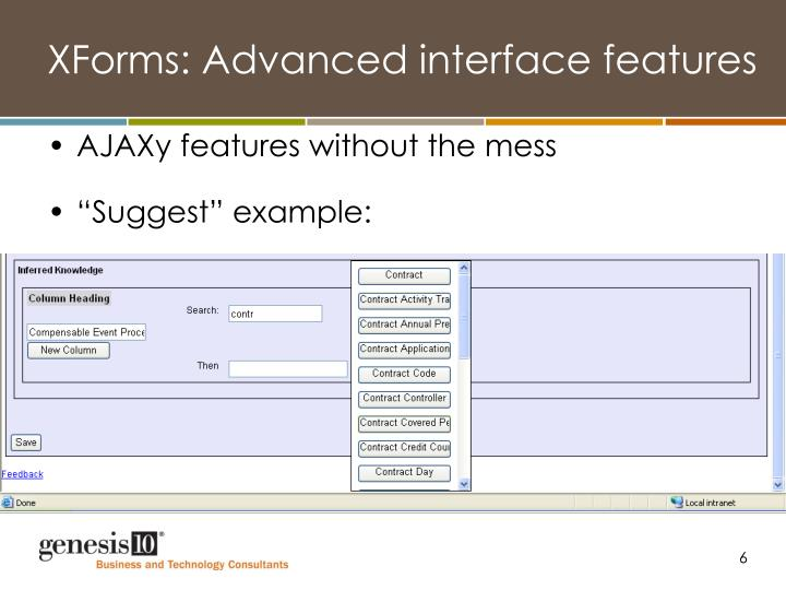 XForms: Advanced interface features