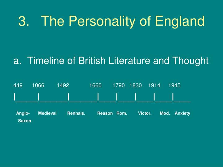 3 the personality of england