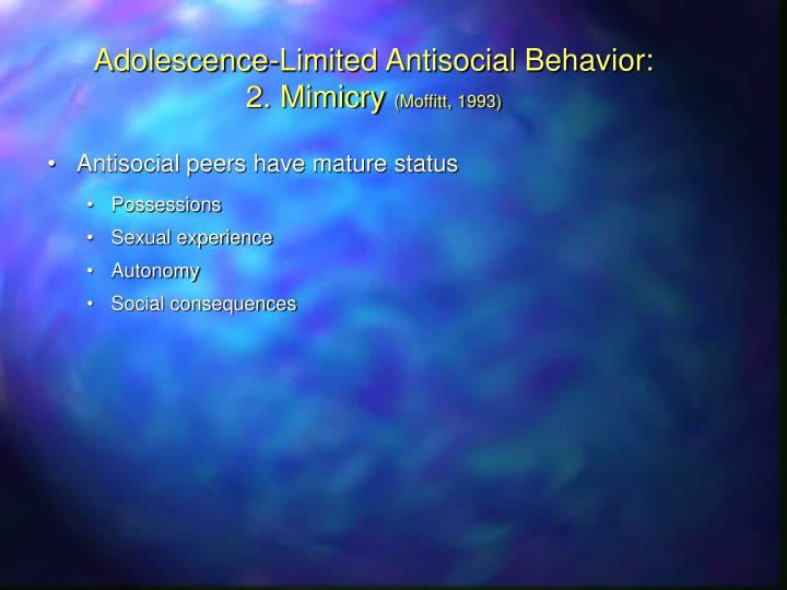 Adolescence-Limited Antisocial Behavior: