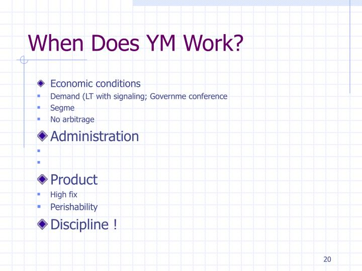 When Does YM Work?
